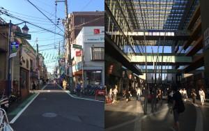 二子玉川商店街(左)とrise(右)