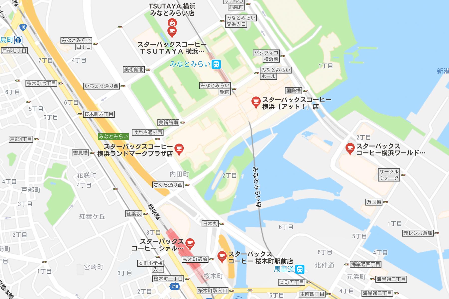 桜木町近辺スタバ激戦区マップ